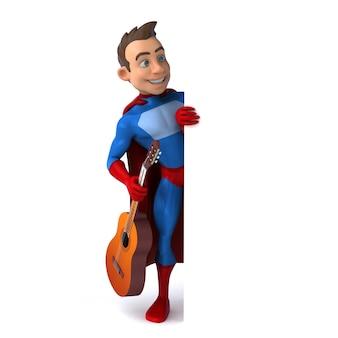 Divertida ilustración 3d de un divertido superhéroe