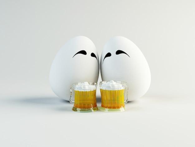 Divertida ilustración 3d de dos huevos bebiendo cerveza. concepto de pascua y amistad