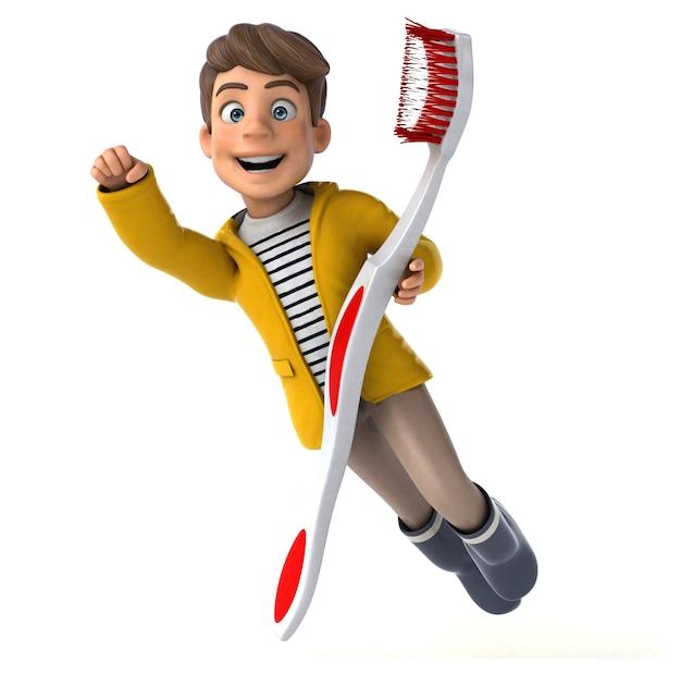 Divertida ilustración 3d de un niño de dibujos animados con ropa de lluvia