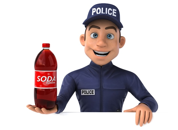 Divertida ilustración 3d de un oficial de policía de dibujos animados con botella de refresco