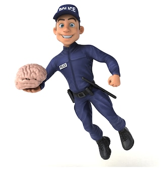 Divertida ilustración 3d de un oficial de policía de dibujos animados