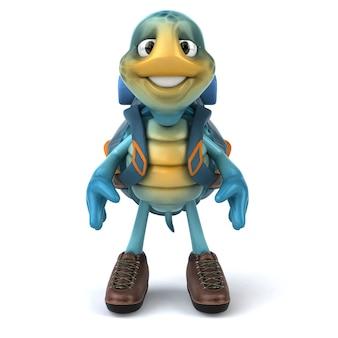 Divertida ilustración 3d de una tortuga azul
