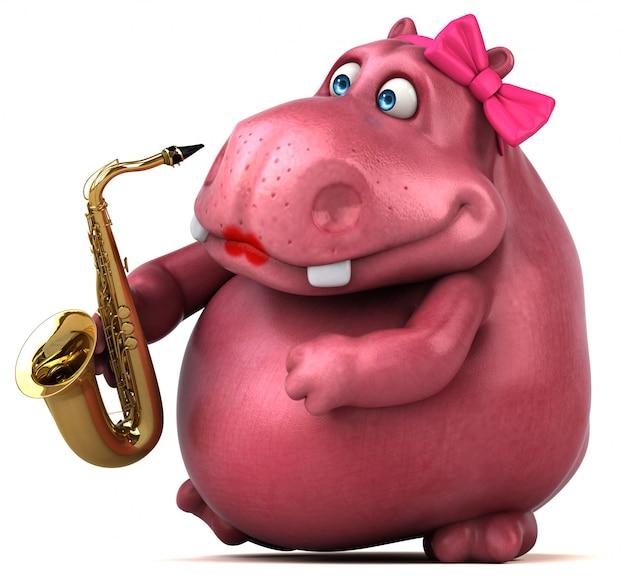 Divertida ilustración de hipopótamo