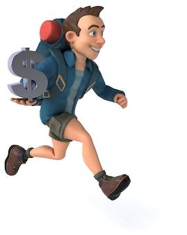 Divertida ilustración de un mochilero de dibujos animados en 3d