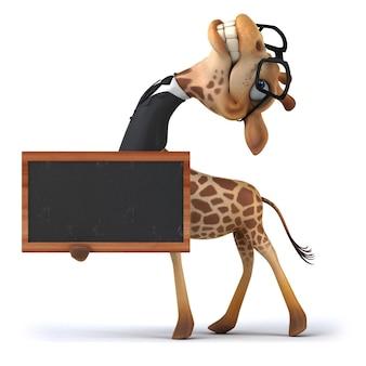 Divertida jirafa sosteniendo una pizarra