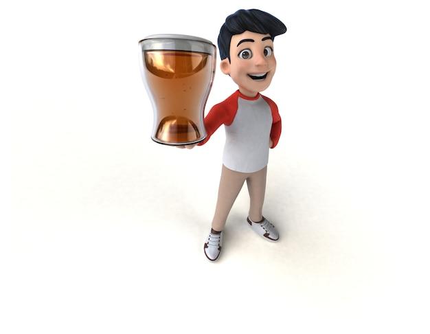 Divertido adolescente asiático en 3d con un estilo manga con una cerveza