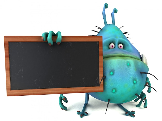 Divertido monstruo 3d de insectos germinales con una pizarra
