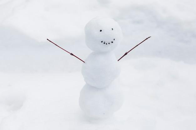 Divertido muñeco de nieve en el banco de nieve