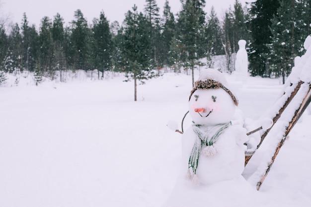 Divertido muñeco de nieve en el parque