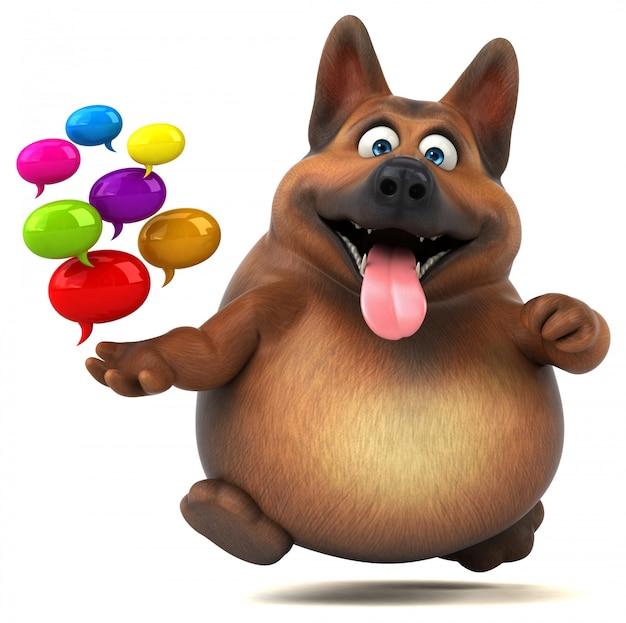 Divertido perro pastor alemán - ilustración 3d