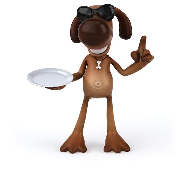 Divertido perro sosteniendo un plato vacío
