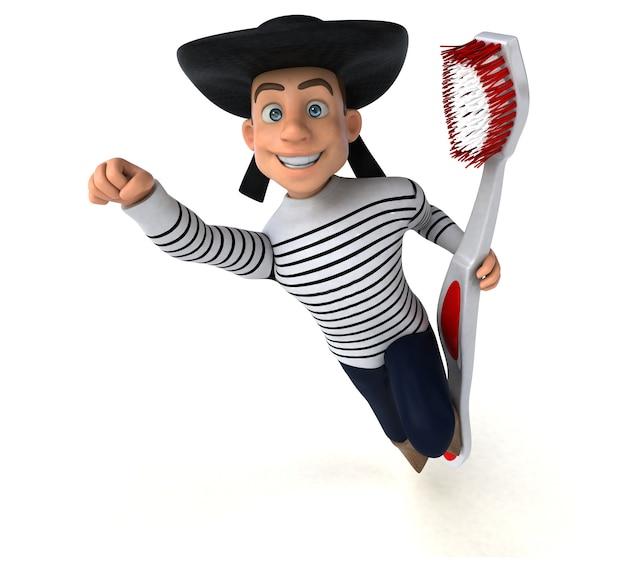 Divertido personaje bretón de dibujos animados en 3d
