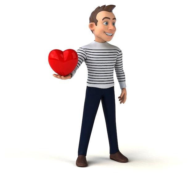 Divertido personaje casual de dibujos animados en 3d