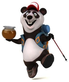 Divertido personaje de dibujos animados de mochilero panda 3d