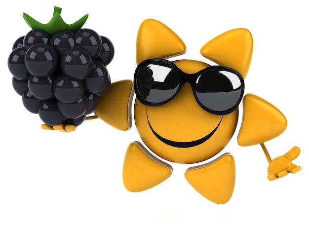 Divertido personaje de sol 3d