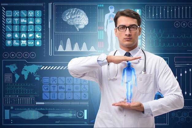 Doctor en antecedentes médicos futuristas