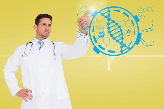 Doctor con un fondo tecnológico