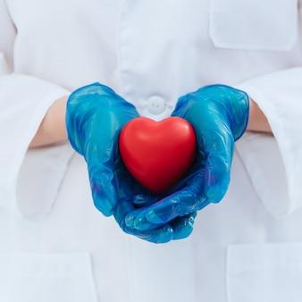 Doctor en guantes protectores sostiene el corazón