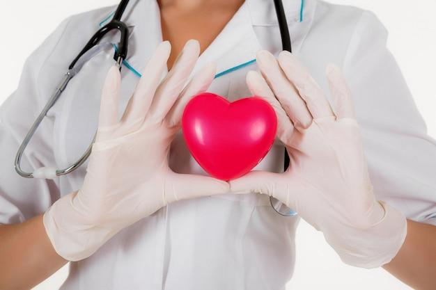 El doctor muestra el corazón aislado sobre un fondo blanco.
