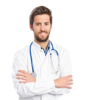 Doctor sonriendo con estetoscopio