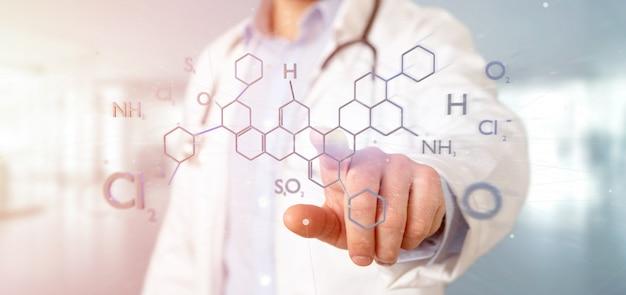 Doctor sosteniendo una estructura de molécula aislada en una