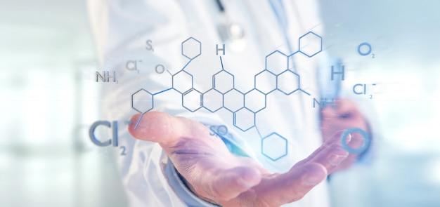 Doctor sosteniendo una estructura de molécula de renderizado 3d