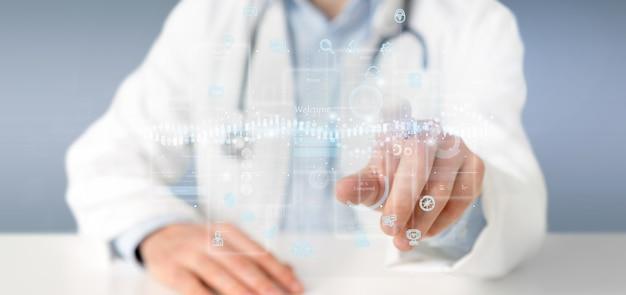 Doctor sosteniendo pantallas de interfaz de usuario con íconos, estadísticas y renderizado 3d de datos