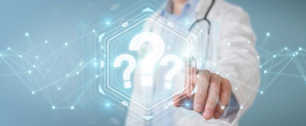 Doctor usando la interfaz de signos de interrogación digital representación 3d