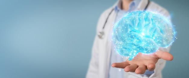 Doctor usando renderizado digital de holograma 3d de escaneo cerebral