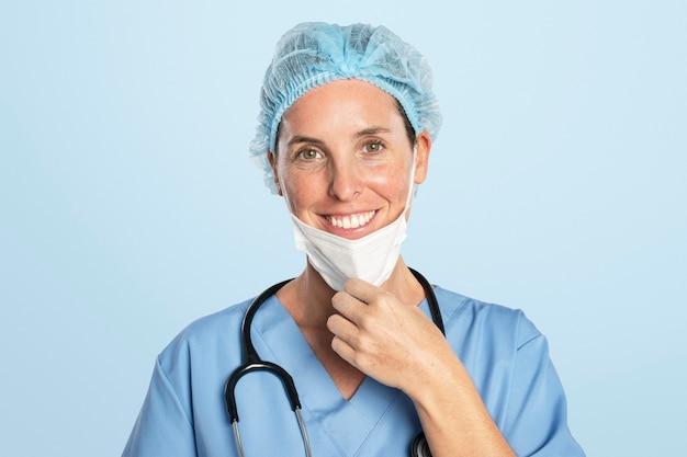 Doctora con un retrato de estetoscopio