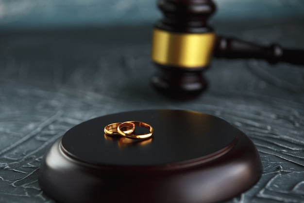 Documento de decreto de divorcio de dos anillos de bodas de oro rotos. concepto de divorcio y separación