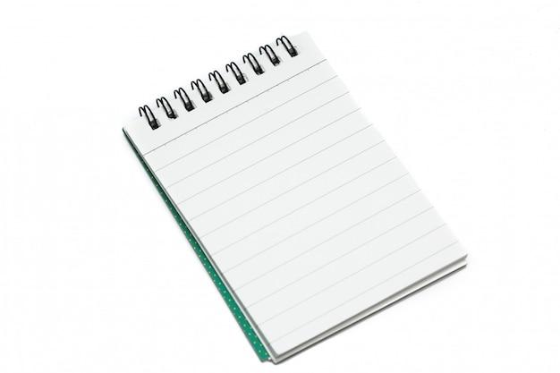 Documento de nota en blanco sobre blanco aislado