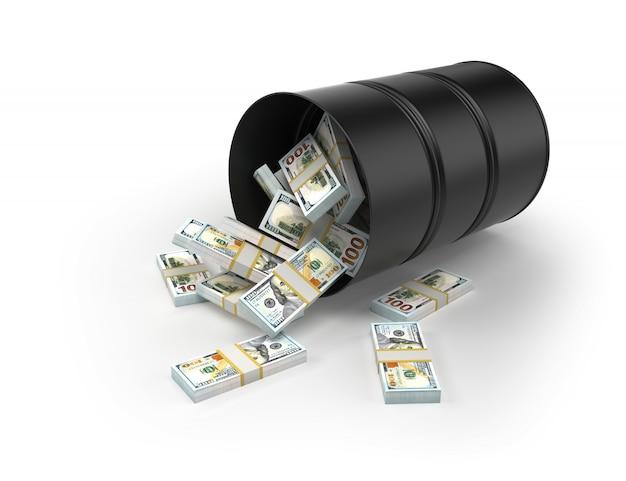Los dólares se caen del barril sobre fondo blanco.