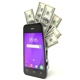 Dólares dentro del concepto de teléfono inteligente 3d