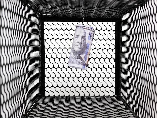 Dólares de dinero en una trampa para ratones sobre fondo blanco.