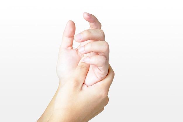 Dolor en las manos de las mujeres tomados de la mano, aislar sobre fondo blanco.