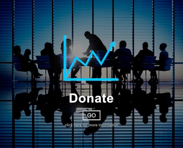Donar dar concepto de sitio web de ayuda de caridad en línea