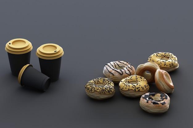 Donut colorido y taza de café con fondo negro. representación 3d