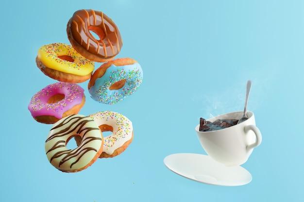 Donuts de colores dulces volando y cayendo y una taza de café caliente sobre un fondo azul.