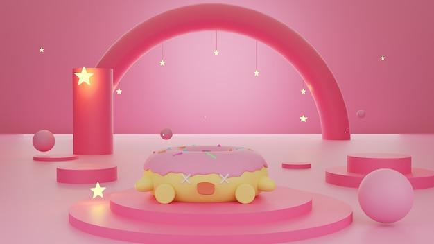 Donuts y estrellas sobre fondo abstracto hermoso color rosa pastel