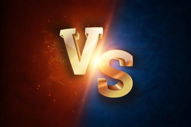 Dorado versus logotipo, letras para deportes y lucha libre.