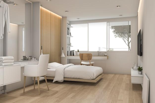 Dormitorio blanco de renderizado 3d con mesa de maquillaje cerca de walk in closet