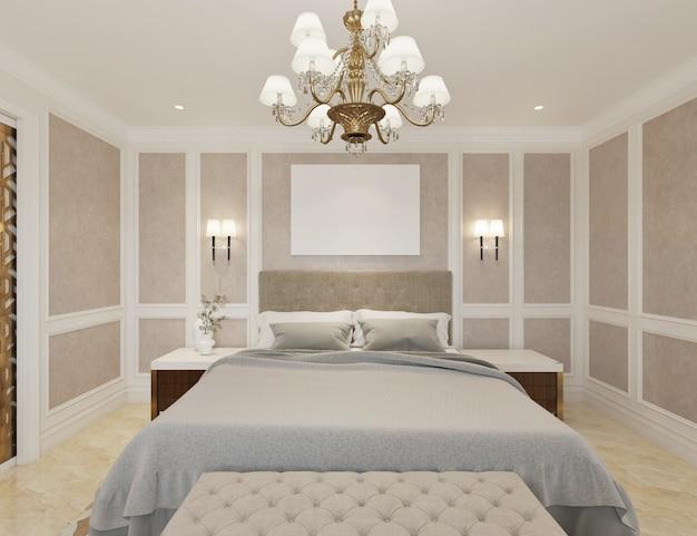 Dormitorio clásico moderno con credenza, tv, lámpara de araña y lienzo vacío.