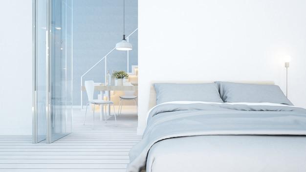 Dormitorio y comedor en tono blanco en condominio o departamento.