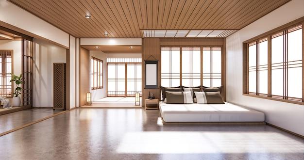 Dormitorio de diseño japonés en el interior de la habitación tropical y piso de tatami