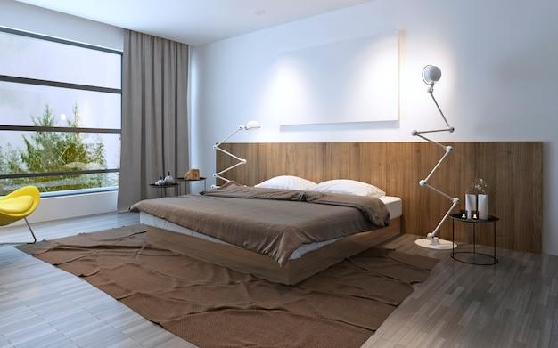 Dormitorio espacioso con cama doble. color marrón en interior. ventana de piso a techo. render 3d