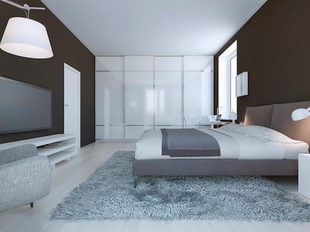 Dormitorio espacioso estilo minimalista