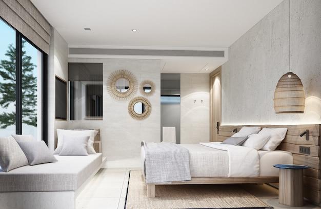 Dormitorio estilo asiático tropical con paredes de madera y hormigón 3d rendering