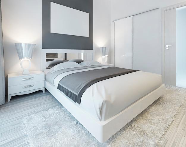 Dormitorio de estilo contemporáneo en colores blanco y gris. dormitorio principal con armario deslizante y póster de maqueta en la pared. render 3d.