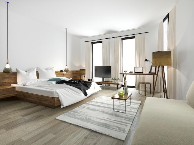 Dormitorio de estilo minimalista de madera de representación 3d con vista desde la ventana